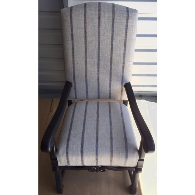 Blue & Beige Striped Accent Chair - Image 2 of 5