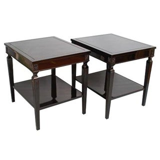 Black Lacquer Louis XVI Style Side Tables - A Pair