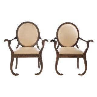 Sculptural Oak Mid-Century Arm Chairs - A Pair