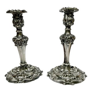Antique Reed & Barton Silverplate Candle Holders - A Pair