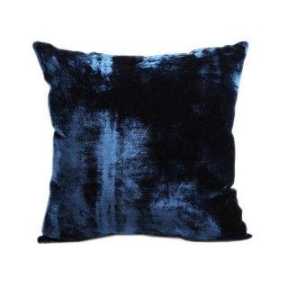 Vintage Handloomed Blue Velvet Pillows - A Pair