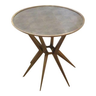 Faux Shagreen and Brass Round Cocktail or Side Table, Contemporary