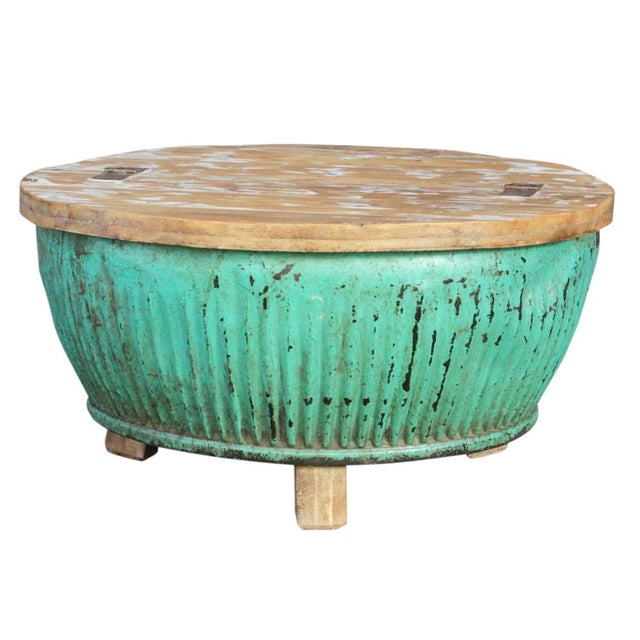 Teal reclaimed drum coffee table chairish for Teal coffee table