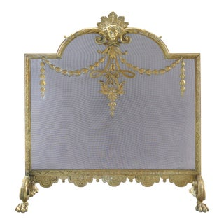 1920's French Art Deco Figural Brass Firescreen