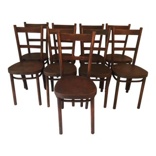 Antique French Bistro Thonet Chairs Set (9) Antique c. 1930s. V. Good