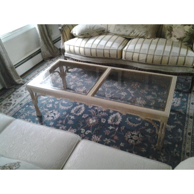 Transitional Wood & Glass Coffee Table - Image 2 of 7