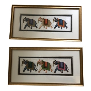 Framed Painted Elephants on Silk - A Pair