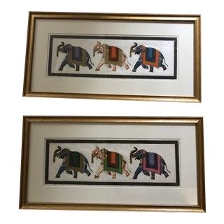 Framed Painted Elephants on Silk - A Pair
