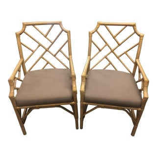 Pair of Kenian Import Rattan Arm Chairs