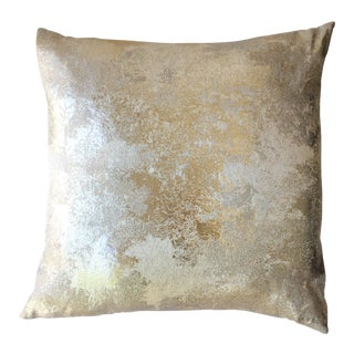 Square Feathers Gold Metallic Pillow