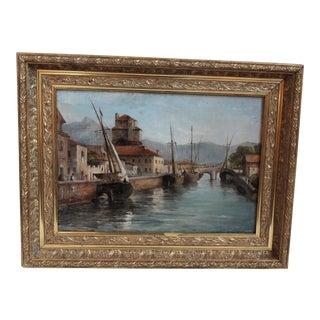 Harbor Scene Oil Painting