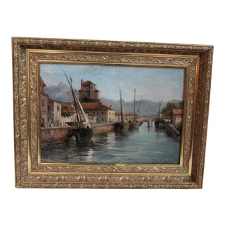Harbor Scene Oil Painting
