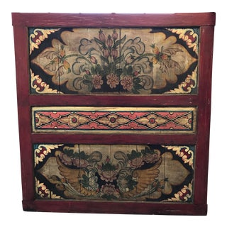South East Asian Painted Teak Wall Panel