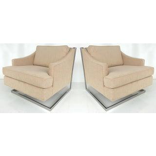 Mid-century Modern Chrome Cantilever Club Chairs, Pair