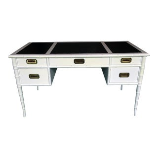 Campaign Black & White Faux Bamboo Desk
