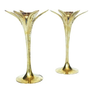 Mid Century Modernist Brass Palm Candlestick Holders