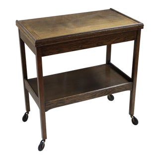 Vintage Oak Flip-Top Bar Cart