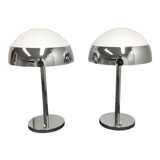 A Pair of Jean Perzel White & Chrome Table Lamps From Paris