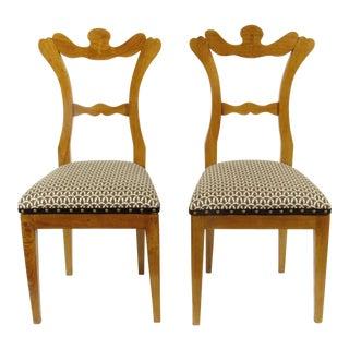 19th-Century Antique Biedermeier Side Chairs - a Pair