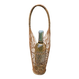 Vintage Rattan Reed Wicker Wine Caddy