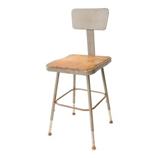 Vintage Industrial Steel Drafting Stool