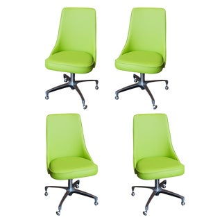 Chromcraft Apple Green Vinyl Dining Chairs - Set of 4