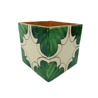 Italian Terra Cotta Glazed Square Planter