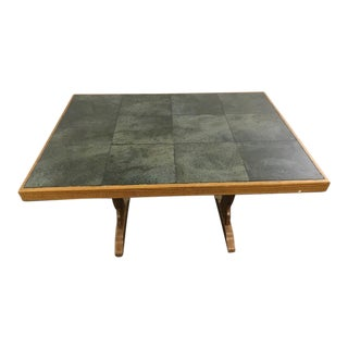 Vintage Carved Wood & Ceramic Tile Top Table