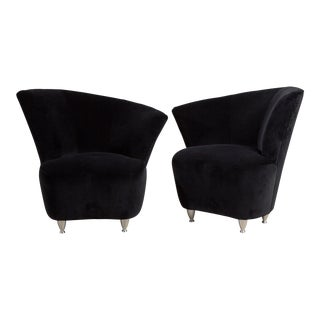 A Pair of Shell Shaped Black Velvet Armchairs 1990s