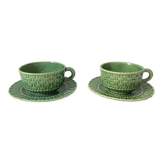 Vintage Green Majolica Teacups and Saucers - a Pair