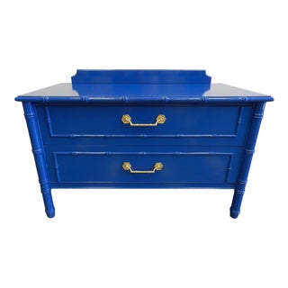 Vintage Blue Faux Bamboo Chest