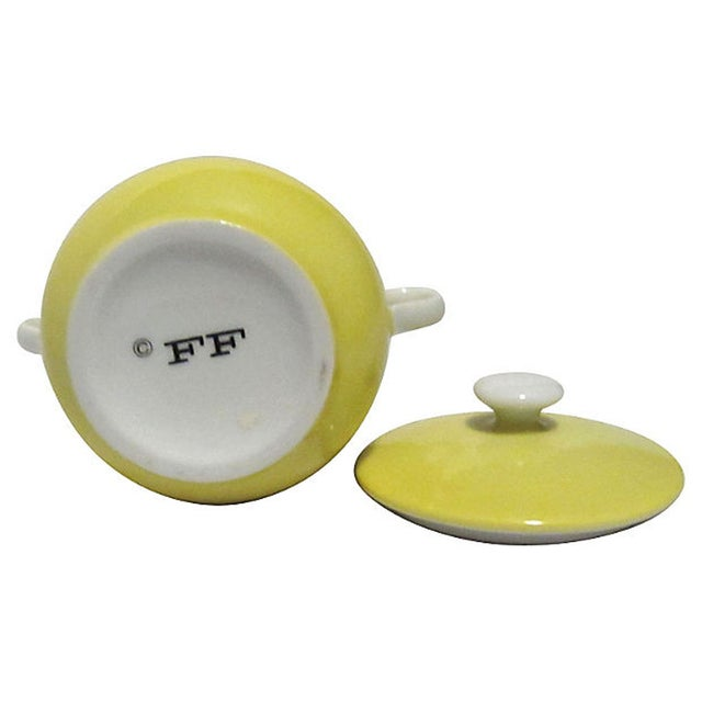 Yellow Fitz & Floyd Pots De Creme With Tray - Image 7 of 7