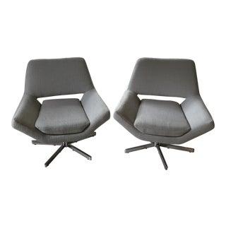 Modern Powder Blue Chrome Chairs - A Pair