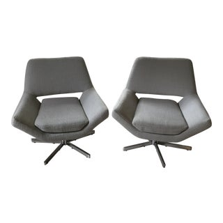 Modern Powder Blue Chrome Chairs - A Pair