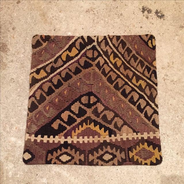 Vintage Brown Kilim Pillow Case - Image 2 of 5