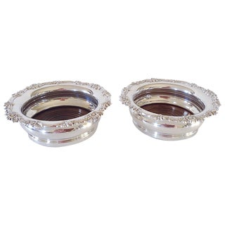 English Silver Wine Coasters - Pair
