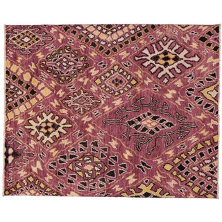 Contemporary Moroccan Style Area Rug with Abstract Design, 9 x 11'2