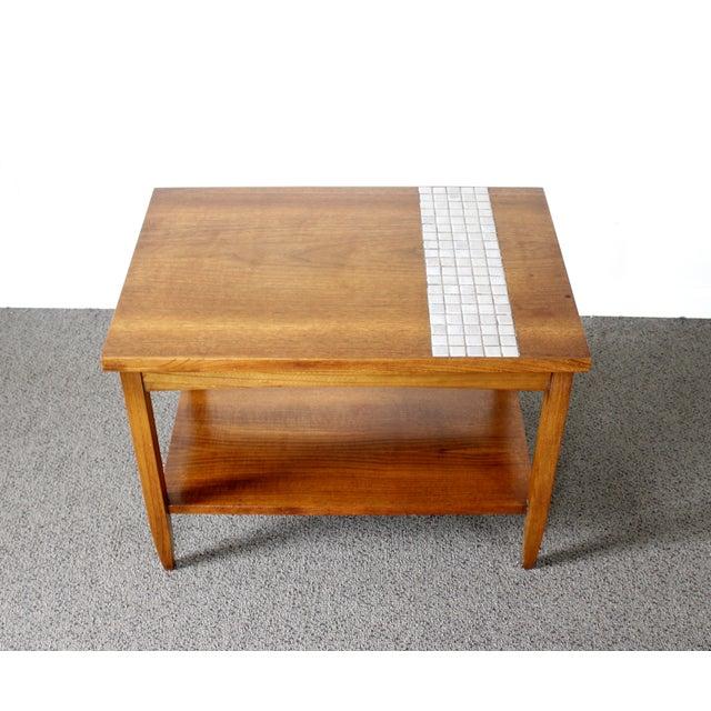 Lane Mid-Century Tile & Wood End Table - Image 2 of 10
