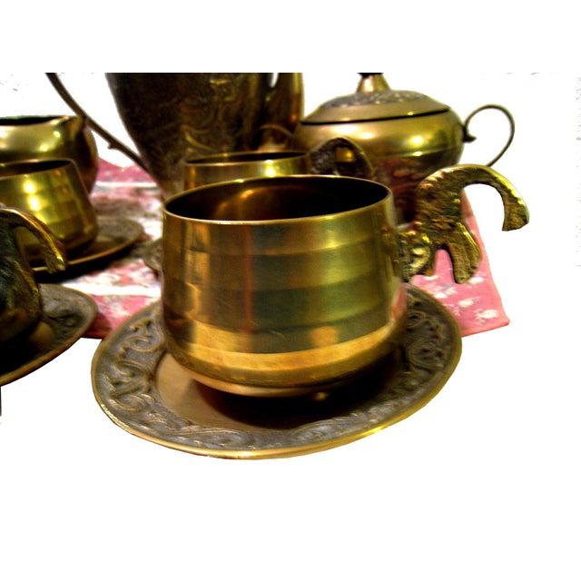 Vintage Hammered Brass Goldfish Tea Set - Image 5 of 10