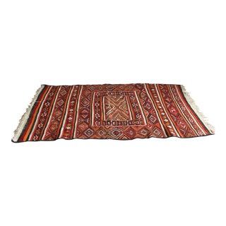 Antique North African Geometric Handwoven Wool Rug - 3′10″ × 7′