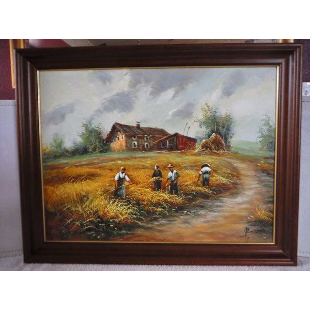 Farmhouse Harvest Original Oil on Canvas - Image 3 of 8