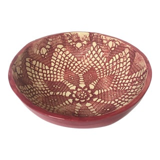 Signed Raspberry Floral Patterned Bowl