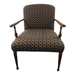 Contemporary Carved Walnut Upholstered Armchair