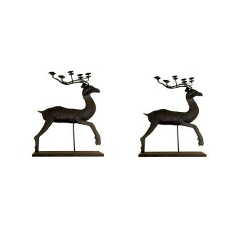 Deer Antler Candle Holder Sculptures - A Pair