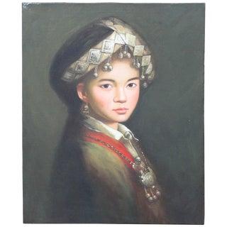 Original Oriental Girl With Silver Jewelry Contemporary Oil Portrait