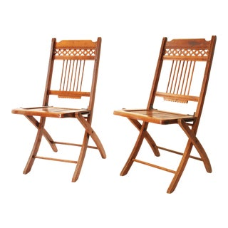 Vintage Wood Slat Folding Chairs - A Pair