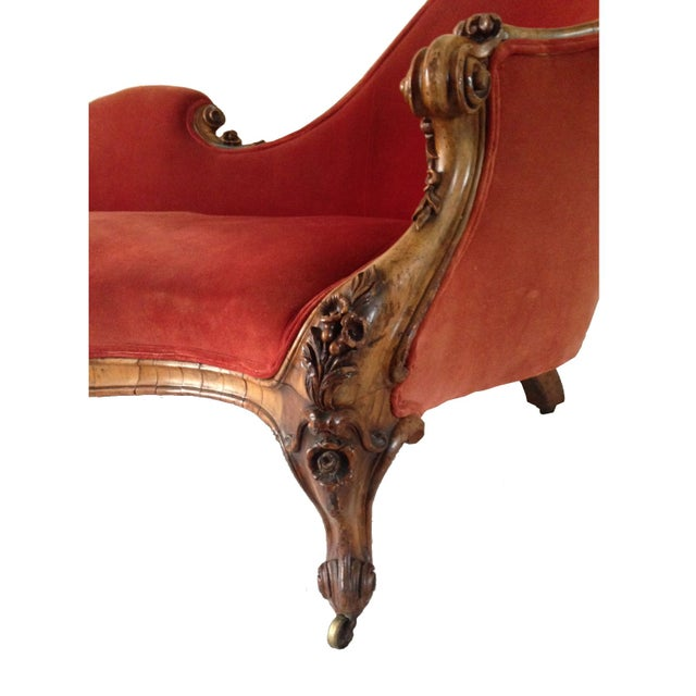 Antique red velvet chaise lounge chairish for Antique wooden chaise lounge
