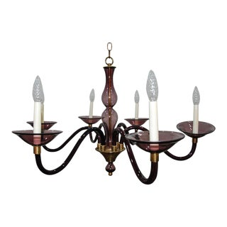1950s Pauly and Cie Style Purple Murano Glass and Brass Chandelier