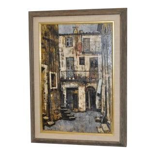 """Mid-Century Oil Painting, """"Casa DI Calcata"""""""