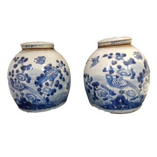 Blue & White Gingers Jars - A Pair